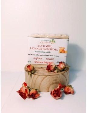 Shampoing Solide coco,miel, lavande, palamarosa et Lait de Chèvre 140g - produit esthétique bio Lyon