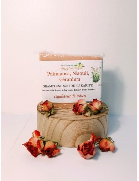 Shampoing Solide palmarosa, niaouli, géranium et Lait de Chèvre 140g - produit esthétique bio Lyon